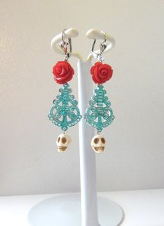 Day Of the Dead Earring Sugar Skull Turquoise by sweetie2sweetie