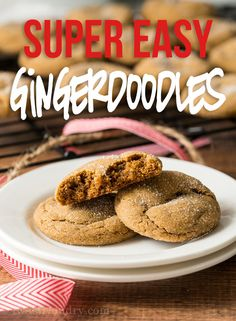 This super easy Gingerdoodle Cookie Recipe is filled with brown sugar, molasses and spices for a tender, melt in your mouth cookie. Nutella, Cookie Recipes, Dessert Recipes, Xmas Recipes, Yummy Recipes, Best Sweets, Easy No Bake Desserts, Delicious Desserts, Trifle Pudding