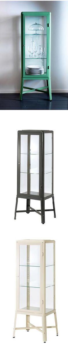 """""""When I designed FABRIKÖR glass-door cabinet I was inspired by industrial furniture from the early 20th century, especially the so-called medical cabinets, where medicine and medical supplies were kept. It's a piece of furniture that's robust, sturdy and breathes quality."""" Designer, Nike Karlsson"""