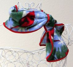 Scarf Fleece Neckwarmer Cardinal Red Blue Bow Tie by anniekdesigns, $10.99