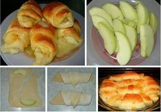 Puff pastry with apples Hot Dog Buns, Mashed Potatoes, Muffin, Bread, Breakfast, Ethnic Recipes, Desserts, Apples, Kitchen Stuff