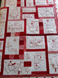 """pretty quilting  ~  Redwork by Jessica's Quilting Studio, via Flickr.  *****Pattern is called """"Holiday Rework #210 by The Stitch Connection""""  See it here:  http://www.popsbindings.com/holidayredwork210-handembroiderypattern.aspx"""
