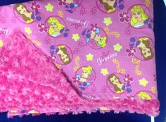 Disney Princess with pink rose small blanket for travel or in the stroller.