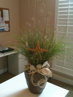 Bernadette's birthday shells & starfish sea grass arrangement