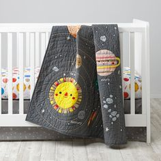 Our Deep Space Crib Bedding features playful and colorful planets and stars, perfect for your nursery. Shop baby bedding today.