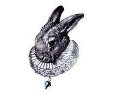 Acryl Brosche Hase Alice vintage von Dear Prudence auf DaWanda.com