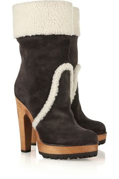 Dolce & Gabbana Suede and shearling ankle boots