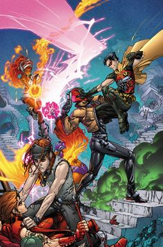 Cover for Red Hood & The Outlaws, coming this November. Lines by Kenneth Rocafort Colors by Red Hood And The Outlaws 3 cvr Batwoman, Nightwing, Batgirl, Dc Comics Characters, Dc Comics Art, Beast Boy, Hq Marvel, Marvel Dc Comics, Damian Wayne