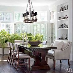 Elegant Dining Room with touch of green