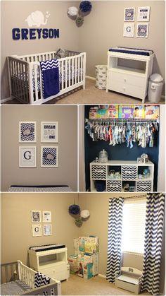 Greyson's baby boy Nursery Navy Blue, gray, elephant, chevron themed
