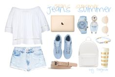 """jeans summer"" by lethinka on Polyvore featuring MANGO, adidas, Scoop, Marc Jacobs, Swiss Legend, Kate Spade, PB 0110, Mykita, J.Crew and Chan Luu"