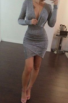 Fashionable Women's Long Sleeve Pure Color Plunging Neck Bodycon Dress
