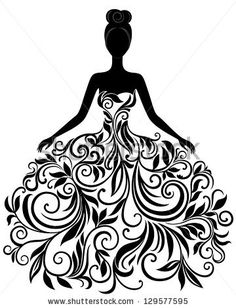 Vector silhouette of young woman in elegant wedding dress by svribalka, via Shutterstock