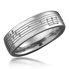 Musical Phrase Wedding Band - Personalize your wedding ring with a musical phrase symbolic of your relationship. 7mm wide. #weddingring