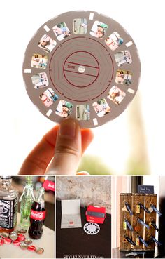 best idea ever! skip the slide show & set one of these at each table with reels of your engagement photos and the bride & groom growing up.