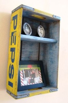 Soda Crate Redo Shadow Box - added a shelf and repainted the inside to match the outside.   www.coolcottage.net