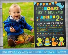 This affordable listing is for a high resolution PRINTABLE party invitation and free Thank You card emailed to your registered Etsy email Monster First Birthday, Dinosaur First Birthday, Monster Birthday Parties, Birthday Ideas, Pig Birthday, Birthday Nails, Birthday Quotes, Dinosaur Party Invitations, Monster Invitations