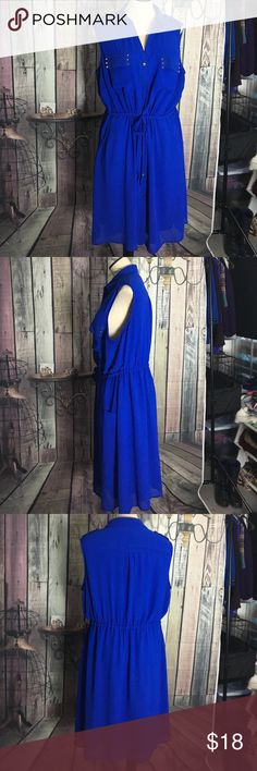 Blue dress Royal blue dress with two top pockets and two bottom pockets gold buttons waist tie Cato Dresses Midi