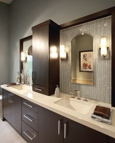 Bath Vanity ... like tile back drip AND counter top cabinet
