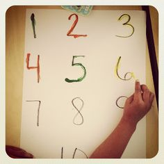 Great for kiddos! Use q tips and paint to practice number formation! Smedley's Smorgasboard of Kindergarten: The Saturday Kindergarten Post! Math Numbers, Writing Numbers, Letters And Numbers, Math Classroom, Learning Activities, Preschool Activities, Kindergarten Smorgasboard, Kindergarten Math, Teaching Tools