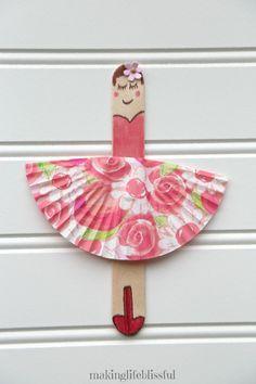 DIY Kids Craft Kit, 3 Doll Ballerinas per kit - Wanderlust Cute Kids Crafts, Craft Kits For Kids, Crafts For Kids To Make, Craft Stick Crafts, Preschool Crafts, Easter Crafts, Party Crafts, Paper Craft For Kids, Popsicle Stick Crafts For Kids