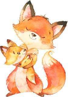 Art And Illustration, Cute Animal Illustration, Watercolor Illustration, Illustrations, Baby Animal Drawings, Cute Drawings, Cute Fox Drawing, Baby Clip Art, Baby Art