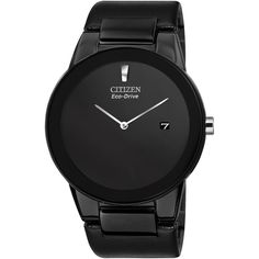 Citizen Men's Axiom Stainless Steel Bracelet Watch , Black (15.275 RUB) ❤ liked on Polyvore featuring jewelry, watches, accessories, man, black, polish jewelry, black jewelry, stainless steel watches, stainless steel jewelry and stainless steel wrist watch