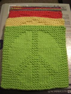 A Knitting Mountain: Peace Washcloth Pattern