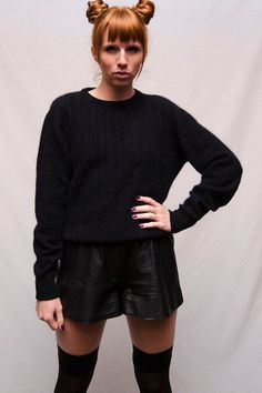 Vintage Black Cable Knit Angora Sweater