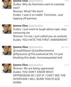 Straw man arguments feminists hear all the time...
