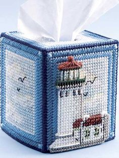 Plastic Canvas - Tissue Topper Patterns - Boutique-Style Patterns Decorate your home with a year-round tissue topper emblazoned with the beauty of a lighthouse. Plastic Canvas Stitches, Plastic Canvas Tissue Boxes, Plastic Canvas Crafts, Plastic Canvas Patterns, Tissue Box Covers, Tissue Box Holder, Plastic Mesh, Kleenex Box, Lighted Canvas