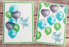 Bright Balloon Builders Thank You Cards made with supplies from Stampin' Up! UK which you can get here