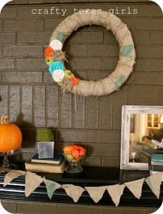 Rosette and burlap wreath-- love!