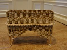 Dollhouse Miniature Wicker Plant Stand by Mccurley 1982