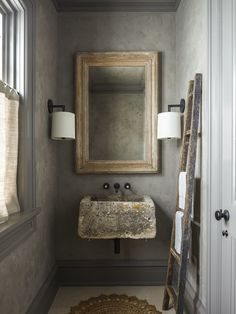 Plaster Walls - Remodeling Ideas | Apartment Therapy Bad Inspiration, Bathroom Inspiration, Architectural Digest, Venetian Plaster Walls, Spiegel Design, Bad Styling, Stone Sink, Bathroom Trends, Bathroom Ideas