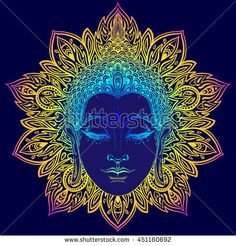 Buddha face over ornate mandala round pattern. Esoteric vintage vector illustration. Indian, Buddhism, spiritual art. Hippie tattoo, spirituality, Thai god, yoga zen. Psychedelic hypnotic colors. Buddha Face, Buddha Head, Buddha Tattoos, India, Textile Prints, Yoga, Painting & Drawing, Vector Art, How To Draw Hands