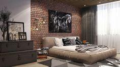 Loft style bedroom on Behance