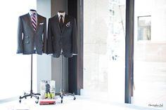 Christopher Luk Wedding - Garrison Bespoke - Toronto Financial District Custom Suit Shirt Tuxedo Sportcoat Overcoat Shoes Tailors - Michael Nguyen Davie Tham JS Vann - Flagship Showroom Store Display Grey Black Vest