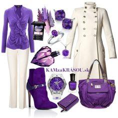 Bielo-fialová zimná elegancia #kamzakrasou #sexi #love #jeans #clothes #coat #shoes #fashion #style #outfit #heels #bags #treasure #blouses #dress