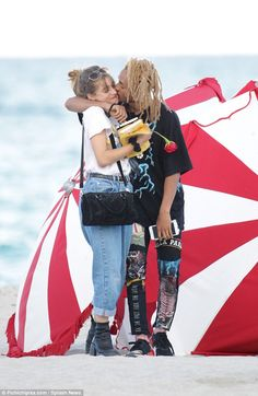 New lady:Jaden Smith seems to have repaired his broken heart after his split with Sarah Snyder with new girl, Odessa Adlon, with the pair seen together in Miami, Florida, on Saturday
