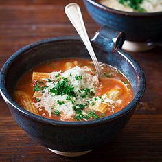 A healthy twist on baked ziti, this hearty tomato basil soup comes together in your slow cooker. It has noodles mixed right in, and we've even topped it off with a bit of gooey cheese. Round out the meal with a green salad and garlic bread for dunking. Slow Cooker Baked Ziti, Slow Cooker Recipes, Crockpot Recipes, Soup Recipes, Vegetarian Recipes, Dinner Recipes, Cooking Recipes, Healthy Recipes, Delicious Recipes