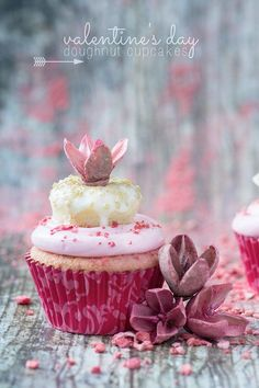 "mademoiselle-rose-things: "" VALENTINE'S Day Doughnut Cupcakes. Strawberry infused pink velvet cupcakes topped with pink marshmallow buttercream, freeze-dried strawberries, and mini vanilla glazed doughnuts – what's not to LOVE? """