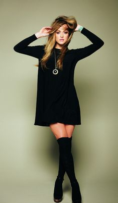 All black Sweater Dress and Knee High Socks