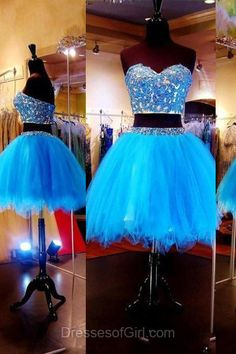 Sweetheart Prom Dresses, Two Piece Formal Dresses, Princess Evening Dresses, Blue Homecoming Dresses, Tulle Party Dresses