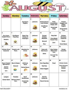 August 2017 Meal Plan  August Menu Plan  Weekly Grocery List