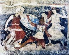 Sarcófago pintado, de Tarquinia (Museo Arqueológico de Florencia). Fragmento con escenas de la Amazonomaquia que documenta en el siglo IV a.C. la intensidad de la influencia griega con la introducción de su temática mitológica en el arte etrusco.