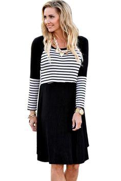 New black chic blocked stripe jersey dress summer size UK 810 and 12 - Vestito - Ideas of Vestito T Shirt Midi Dress, Striped Jersey, Casual Chic Style, Striped Dress, Plaid Dress, Dress Casual, Dress Black, White Dress, Lady