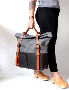 SALE Weekender Bag Waxed Canvas Roll Top Canvas Travel by AwlSnap