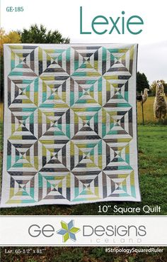 Lexie By Erla, Gudrun - A great looking quilt with an optical illusion that comes together with ease using the Stripology Squared ruler and 10in squares. 5 sizes included: Crib, Lap, Twin, Full, Queen.