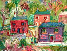 Houses and Gardens Oil on Board 25 x 35 cms